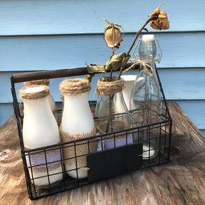 Rustic Wire Milk Bottle Holder